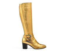 Hoher Stiefel aus metallischem Leder