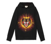 Pullover aus Baumwolle mit Böse Katze-Applikation