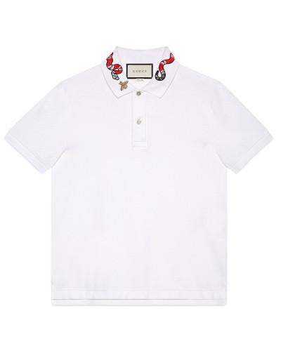 Poloshirt aus Baumwolle mit Königsnatter-Stickerei