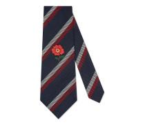 Krawatte aus gestreifter Seide mit Stickereien