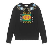 Pullover aus Baumwolle mit Gucci Print und Blumen