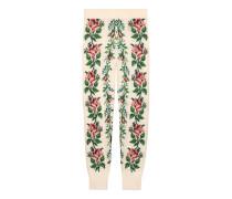 Leggings aus Wolle mit Blumen-Intarsie
