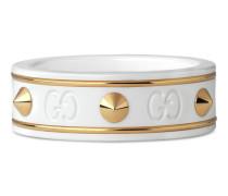 Ring Icon aus Gelbgold mit Nieten