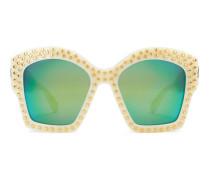 Sonnenbrille mit quadratischem Rahmen und Stern-Nieten