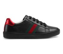 Kinder Low-Top Sneaker aus Leder mit Webstreifen