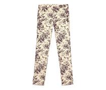 Eng anliegende Hose aus Baumwolle mit Herbarium-Muster