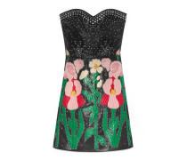 Trägerloses Kleid aus Leder mit Blumen-Intarsie