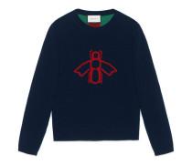 Pullover aus Wolljacquard mit Biene und Webdetail