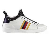 Hoher Sneaker aus Leder und Spitze