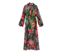 Maxi-Abendkleid aus Lurex mit Mohnfeld-Print