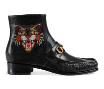 Stiefel aus Leder mit Horsebit und Applikationen