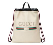 Rucksack mit Zugband aus Leder mit Gucci Print