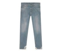 Eng geschnittene Jeans aus Jeansstoff mit blauer Waschung