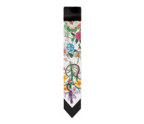 Halstuch aus Seidensablé mit Blumen- und Schlangen-Print und Nerz