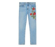 Jeanshose mit Stickerei