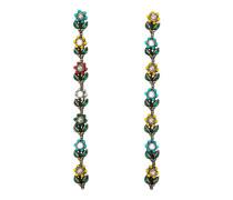 florale Ohrgehänge mit Kristallen