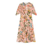 Kleid aus Seide mit V-Ausschnitt und Tian Print