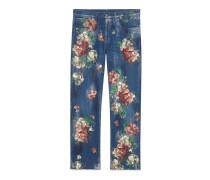 Kurz geschnittene Jeans mit gemalten Blumen