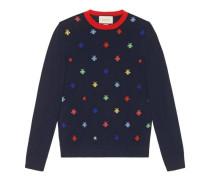 Pullover aus Strick mit Bienen- & Sternen-Intarsie