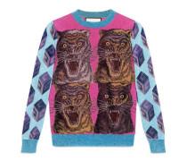 Pullover aus Viskose-Lurex mit Intarsien