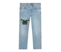 Hose aus Jeans mit Stickerei