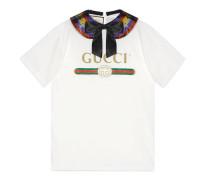 T-Shirt aus Baumwolle mit Gucci Logo und Kragen-Detail