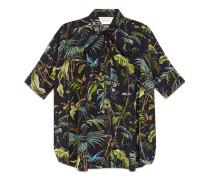 Cape-Shirt aus Seide mit Tropical-Print