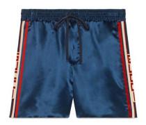 Shorts aus Acetat mit Streifen