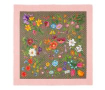 Halstuch aus Wolle und Seide mit GG Flora-Print