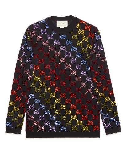 Pullover aus Wolle mit GG Strass-Motiv