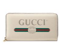 Brieftasche mit Rundumreißverschluss aus Leder mit Gucci Print