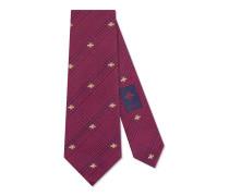 Krawatte aus Seidensablé und Baumwolle mit Bienen-Vichykaro