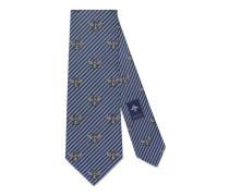 Krawatte aus gestreifter Seide und Baumwolle mit Bienen