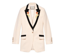 Jacke aus Wolle mit Blumen-Stickerei