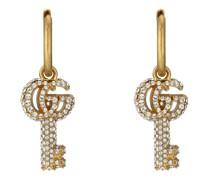 Doppel G Schlüssel-Ohrringe mit Kristallbesatz