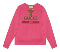 Pullover mit Gucci Print mit Schleife