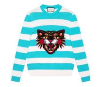 Pullover aus Wolle mit böser Katze und Herz
