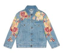 Jacke aus Denim mit Blumen-Stickerei