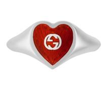 Ring mit emailliertem Herz und GG Schriftzug