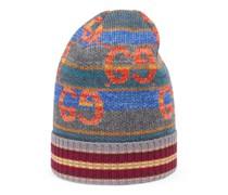 Mütze aus gestreifter Wolle mit GG und Lamé-Fransen