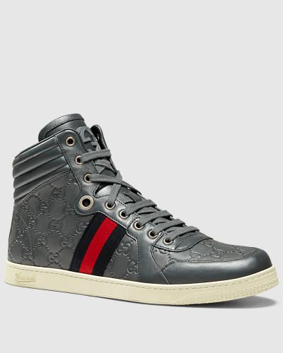 gucci herren hoher sneaker aus guccissima leder reduziert. Black Bedroom Furniture Sets. Home Design Ideas