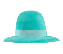 Velour wide-brim hat