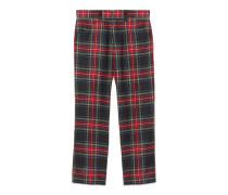 Kurz geschnittene Hose aus Wolle mit Schottenkaro