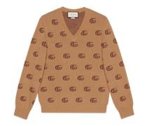 Pullover aus Wolljacquard mit Doppel G und V-Ausschnitt