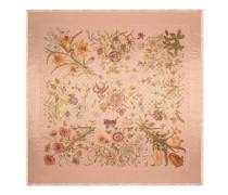 Schal aus GG Wolle mit Lamé und Flora-Print
