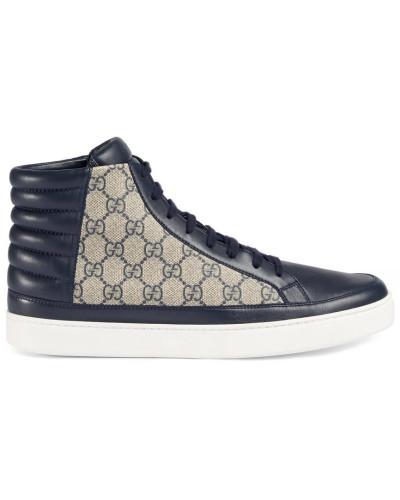 gucci herren hoher sneaker aus gg supreme reduziert. Black Bedroom Furniture Sets. Home Design Ideas