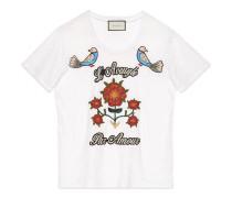T-Shirt aus Leinenjersey mit Stickerei