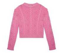Kurzer Pullover aus Woll-Alpaka-Strick mit Zopfmuster