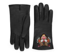 Handschuhe aus Leder mit Katze