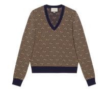 Pullover aus Wolle mit GG Streifen und V-Ausschnitt